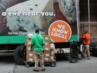 Commercial tenants at 50 Hudson St. have complained about the FreshDirect truck, the landlord said. FreshDirect is mulling a plan to use bicycles to deliver food.