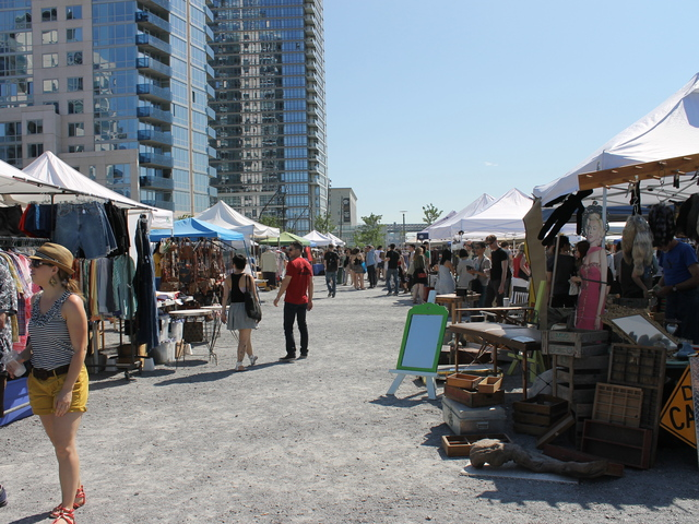 Since the 2005 rezoning the Williamsburg waterfront has seen a number of high rises built along the waterfront. The Brooklyn Flea weekend market currently uses space where more towers will be built.