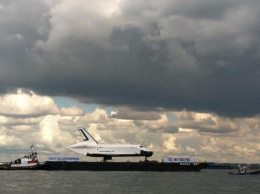 The space shuttle Enterprise floats up the Hudson on June 6, 2012.