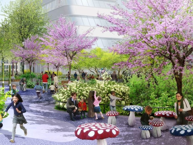 <p>This rendering of the NYU 2031 expansion plan envisions the Washington Square Village Play Garden.</p>