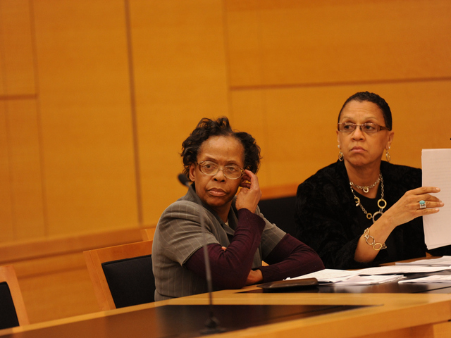 Loretta Brett at left with her Attorney in Brooklyn Supreme Court on Wednesday June 6th, 2012.