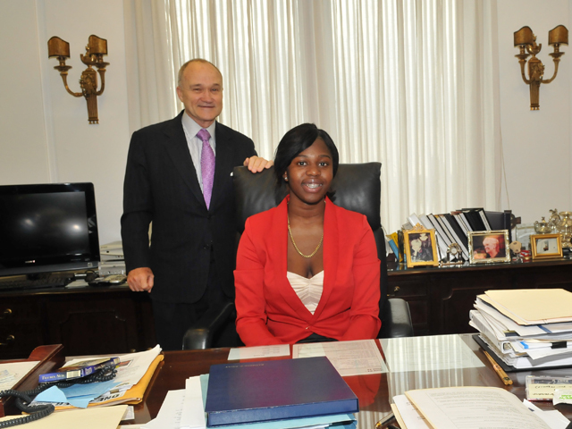 Police Commissioner for a Day essay winner Kanisha Ffriend sits at Commissioner Raymond Kelly's desk, June 6, 2012.