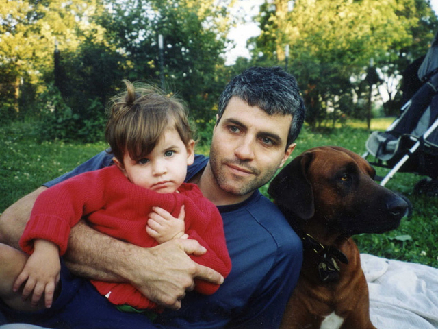 Dimitry Sheinman with his daughter and deceased dog.