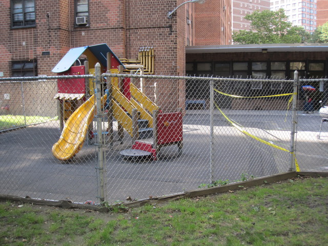 The section of the playground where the unit smashed remains cordoned off by yellow tape.
