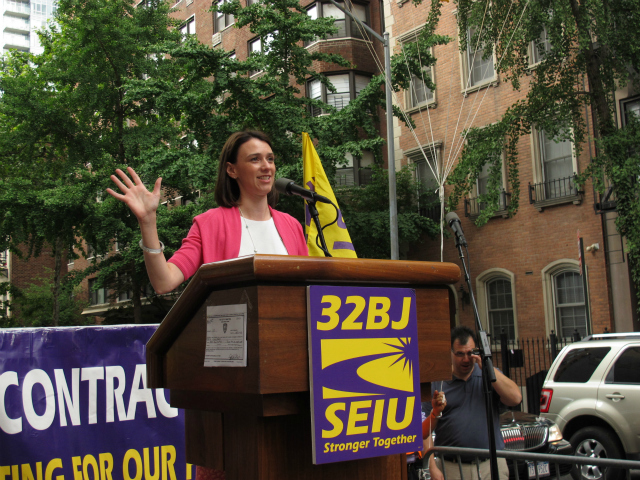 <p>City Councilwoman Jessica Lappin also pledged her support for the union members at the protest on Thursday, June 7, 2012.</p>