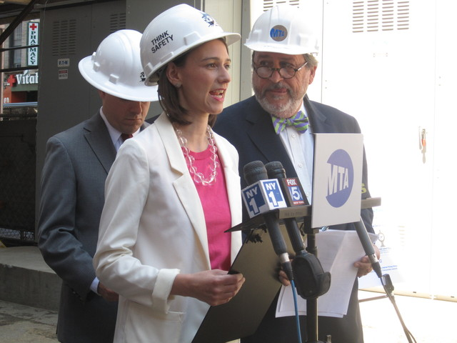 <p>City Councilwoman Jessica Lappin with the MTA&#39;s Michael Horodniceanu unveiling the agency&#39;s new air monitoring site for the Second Avenue subway construction on Friday, June 8, 2012.</p>