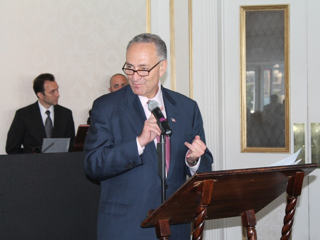 Senator Charles Schumer during a meeting with business and community leaders in Long Island City