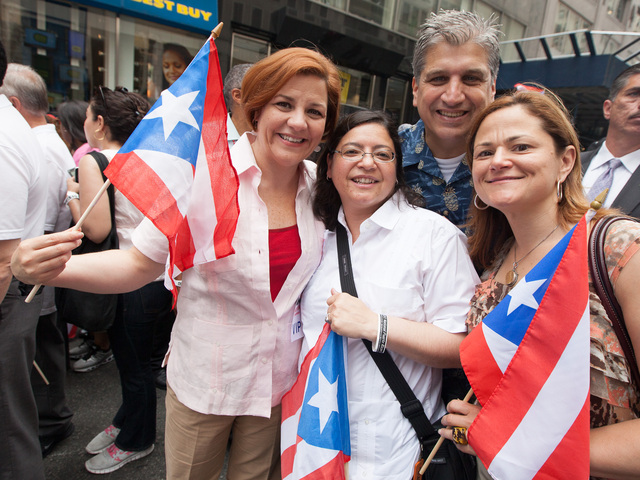 <p>Council Speaker Christine C. Quinn with Rosie Mendez, Council Member Domenic Recchia Jr. and Melissa Mark-Viverito attend the Puerto Rican Day Parade on June 10, 2012.</p>