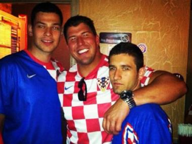 New York Giants offensive tackle David Diehl (center) was arrested in Astoria on Sunday, June 10, 2012, for driving while intoxicated, police said. He was reportedly watching soccer at a bar just before the arrest.