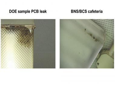 Parents at Brooklyn New School took photos of possible PCB leaks at the school and compared them to PCB samples on the Department of Education's website.