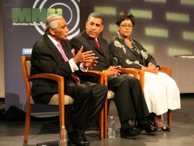 Rep. Charles Range;, State Sen. Adriano Espaillat and Upper West Side businesswoman Joyce Johnson at the debate.