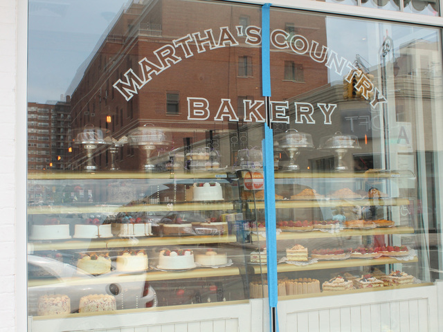 Painter's tape can still be seen on the window of Martha's Country Bakery.
