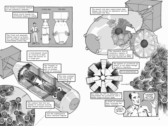 <p>The first atomic bomb&#39;s construction, here drawn by graphic novelist Jonathan Fetter-Vorm in his recent book, was aided by the Wolff-Alport site on Irving Avenue, where heightened radiation levels have been detected.</p>