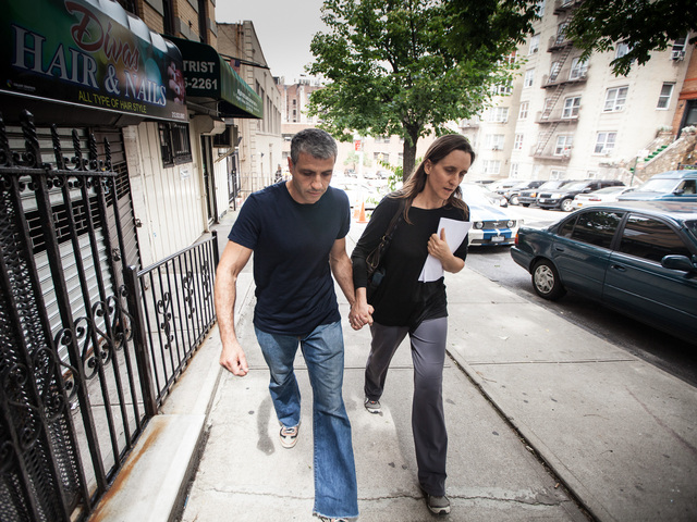 Dimitry Sheinman, 47, and his wife Jane leave the 34th Precinct in Washington Heights on June 12th, 2012.