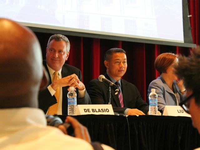 <p>Public Advocate Bill de Blasio and City Comptroller John Liu at a recent mayoral forum.</p>