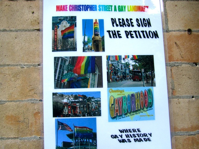 The Village group the West Village Coalition is collecting signatures on a petition asking the city to landmark Christopher Street in recognition of its contributions to the LGBT rights movement.