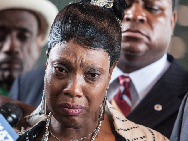 <p>Constance Malcolm, Ramarley Graham&#39;s mother, at a press conference after Officer Richard Haste was indicted on manslaughter charges.</p>