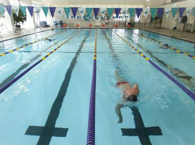 The pool at Brooklyn Sports Club offers lap swimming all day.