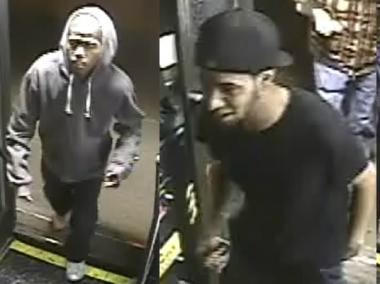 The men in these images, captured by surveillance camera, allegedly stole a 35-year-old man's iPhone Tuesday, according to the NYPD.