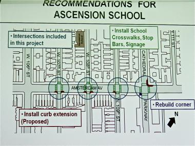 The Department of Transportation has proposed a series of curb extensions around Ascension School.