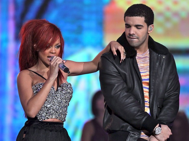 A romantic rivalry over Rihanna (left) allegedly sparked the fight involving Drake (right) and Chris Brown on June 14, 2012. (Photo by Jeff Gross/Getty Images)