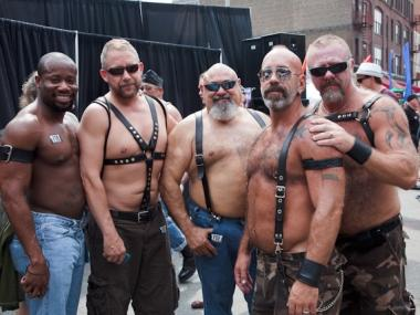 Kink fans pose at the 2010 Folsom Street East fetish festival.