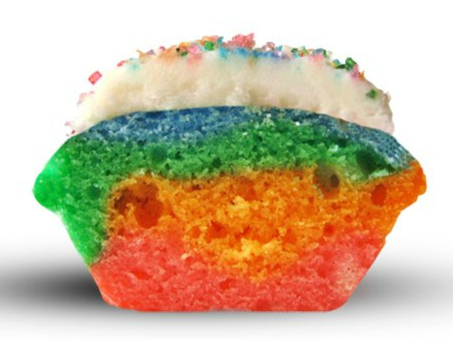 Baked by Melissa offers 10 standard flavors in its bite-sized cupcakes, including tie-dye.