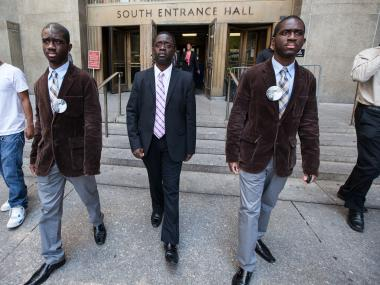 Kadean, Franclot and Hodean Graham leave Manhattan Supreme Court.