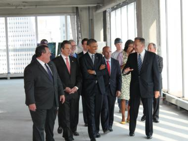 President Barack Obama on the 22nd floor of One World Trade Center June 14, 2012.
