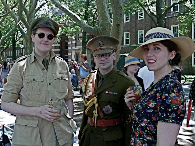British Military uniforms on Sean C. and Kieth T. with a floral clad Meridith M.