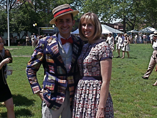Festively attired Ryan and Kimberley S. in preppy  meets vintage inspired looks