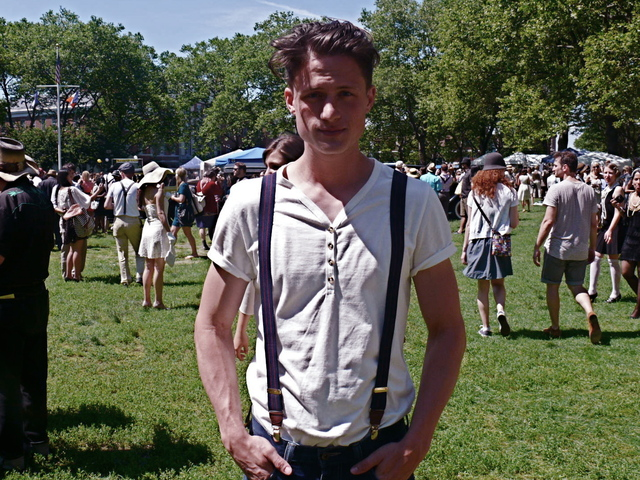 Clean- Cut modern vintage style Henley shirt and suspenders on Chase W.