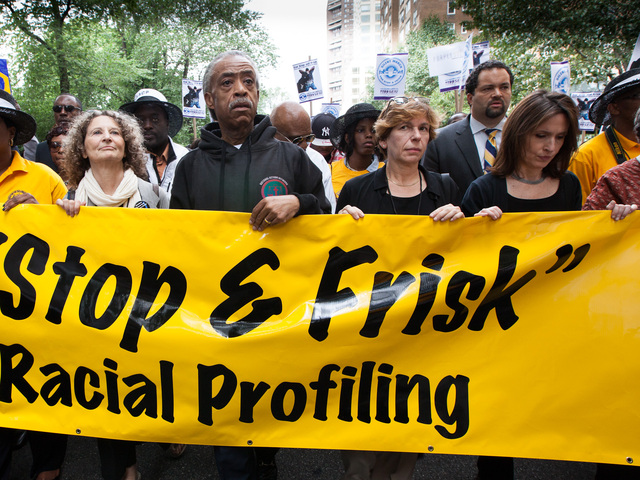 <p>The Rev. Al Sharpton leads a silent march against the NYPD stop-and-frisk policy on June 17, 2012.</p>