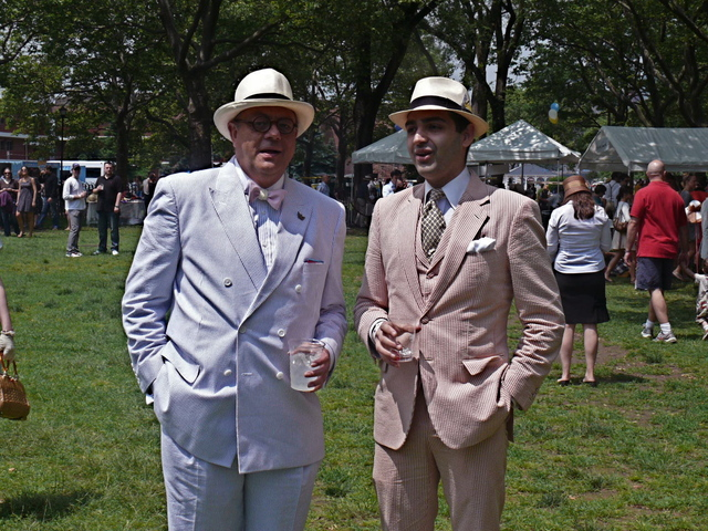 Discussing Brooks Brothers and style, Ray F. and Nathaniel A. in super sharp Seersucker suits