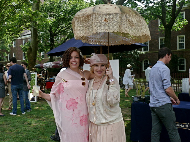 Megan N. and Sarah L. in pale summer blush shades and a Padiglioni style parasol