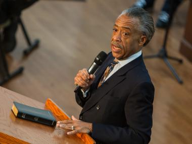 The Rev. Al Sharpton addresses the congregation at the First Corinthian Baptist Church on June 17th, 2012.
