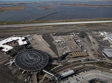 An aerial view of John F. Kennedy Airport on April 15, 2011.