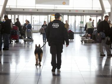 The Port Authority Police Department's Canine Unit patrols Terminal 4 of JFK airport.
