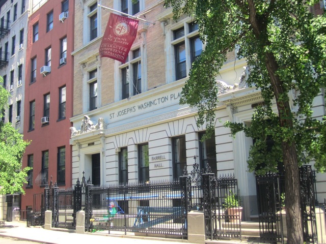 The school is located on Washington Place in Greenwich Village, just west of Sixth Avenue.