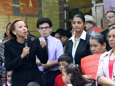 Rep. Nydia Velazquez (at left) is vying for re-election in the 7th Congressional District.