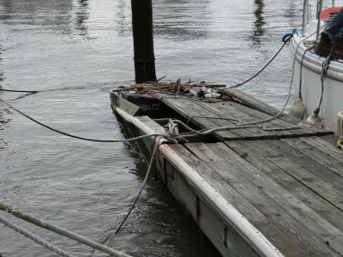 Tom Fox has complained for years to the Parks Department about the broken dock by his boat in Riverside Park's 79th Street Boat Basin.