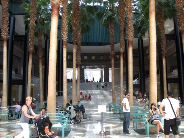 The Winter Garden Plaza at the World Financial Center has plenty of space for you to cool your heels.