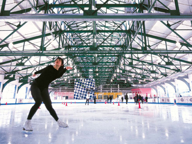 <p>The Chelsea Piers Sky Rink has ice skating year round for those who may want to pretend it&#39;s still winter during the dog days of summer.</p>