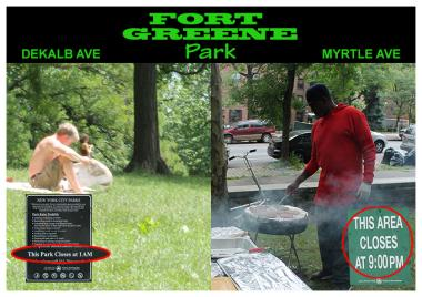 Fort Greene park has different closing times for different sections of the green space, prompting fears of discrimination.