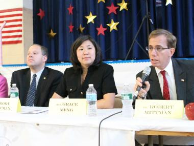 Assembly Rory Lancman, Assemblywoman Grace Meng and Dr. Robert MIttman at a congressional debate on June 18.