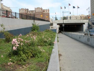 The north side of the 161st Street underpass.