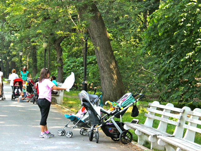A woman fanning two infants in Riverside Park on June 20, 2012.