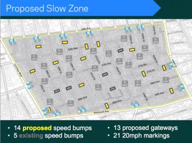 "This is a map of the proposed ""slow zone"" in Corona as of June 2012."