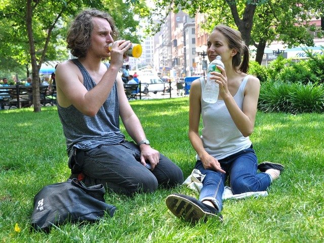 Alice Geletey, 26, and Michael Geletey, 29, visiting New York from Berlin, Germany cool-off in Union Square Park.