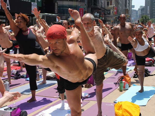 The free class on June 20, 2012 was the world's largest Bikram Yoga class ever.